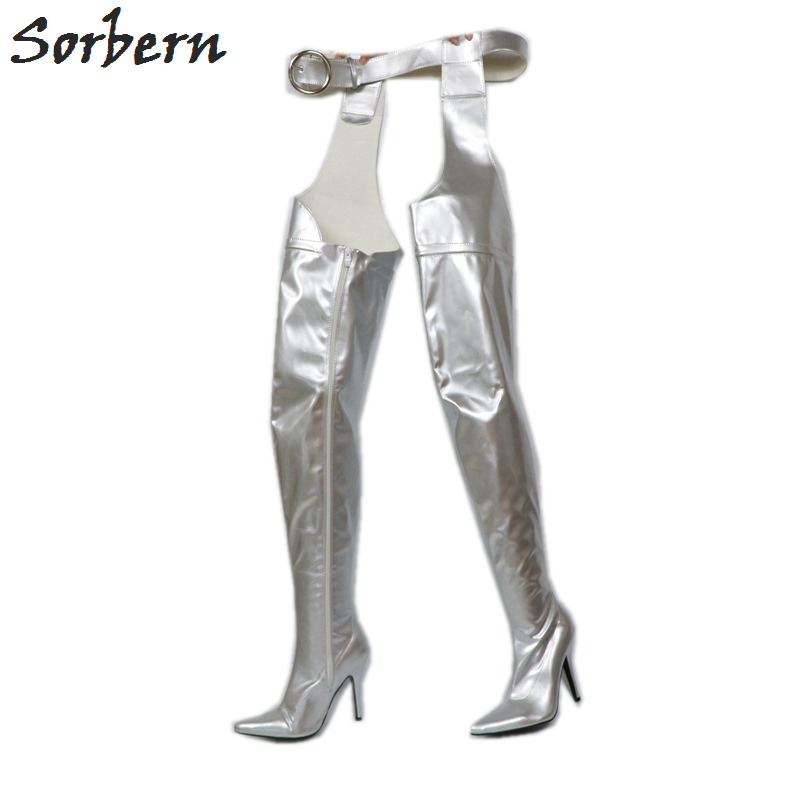 f93755eed6b2 Sorbern Silver Belt Thigh High Boots Custom Wide Calf Fit Shoes Pointed  Toes High Heeled Boots Women Waist High Boots With Belts-in Over-the-Knee  Boots from ...