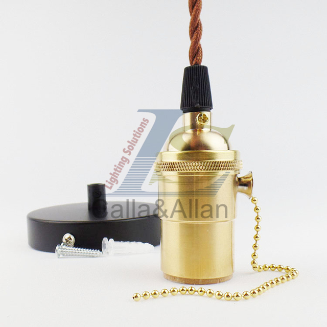 Us 16 0 Br Socket E26 Ul Diy Lamp Accessories Edison Lighting Pendants Copper Holder With Switch Fabric Wire Pendant In