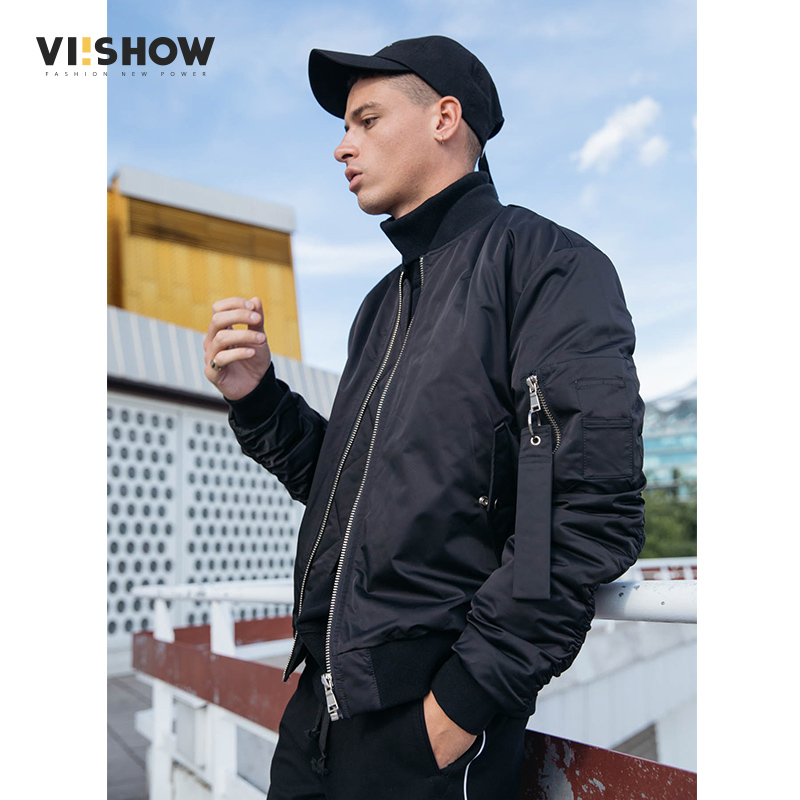 Фото VIISHOW Brand 2017 Winter Bomber Jackets Men, Fashion Fit Black Solid Mens Coats, Ring Zipper Flight Jacket Male S-XXL MC2098174