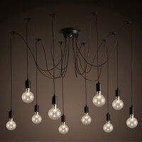 HGhomeart Nordic Chandelier Retro E27 Edison Bulb Light Multiple Ajustable DIY Ceiling Spider Lamp Industrial Dining