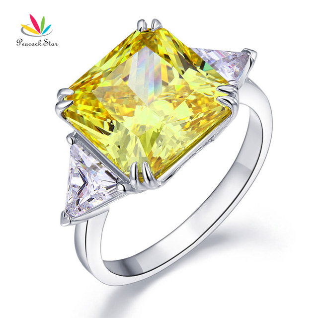 Peacock Star Solid 925 Sterling Silver Three-Stone Luxury Ring 8 Carat Yellow Ca