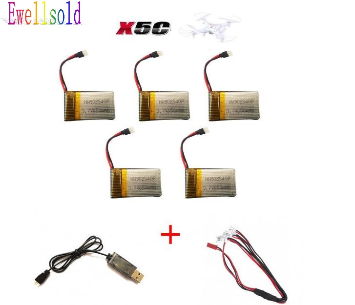 Ewellsold X5C X5 X5SW X5SC RC RC quadcopter RC drone 3.7V 650Mah Li-polymer Battery 5pcs/lot+USB cable Free shipping
