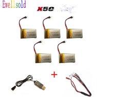 Ewellsold X5C X5 X5SW X5SC RC RC quadcopter zangão RC 3.7V 650Mah Li-polímero Bateria 5 pçs/lote + cabo USB Frete grátis