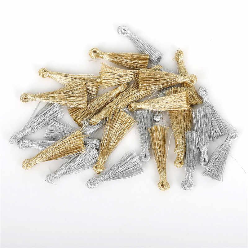 25mm 10 unidades/lotes Ouro/Cor Prata Fio de Metal Mini Pequeno Borla Borlas De Seda Para DIY Brinco Colar de Jóias fazendo Descobertas