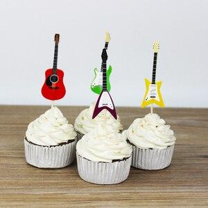Image 3 - BESTOYARD 24 stks/set Gitaar Cupcake Toppers Picks Muziekinstrument Vorm Taart Decoreren Gereedschappen voor Birthday Party Decor