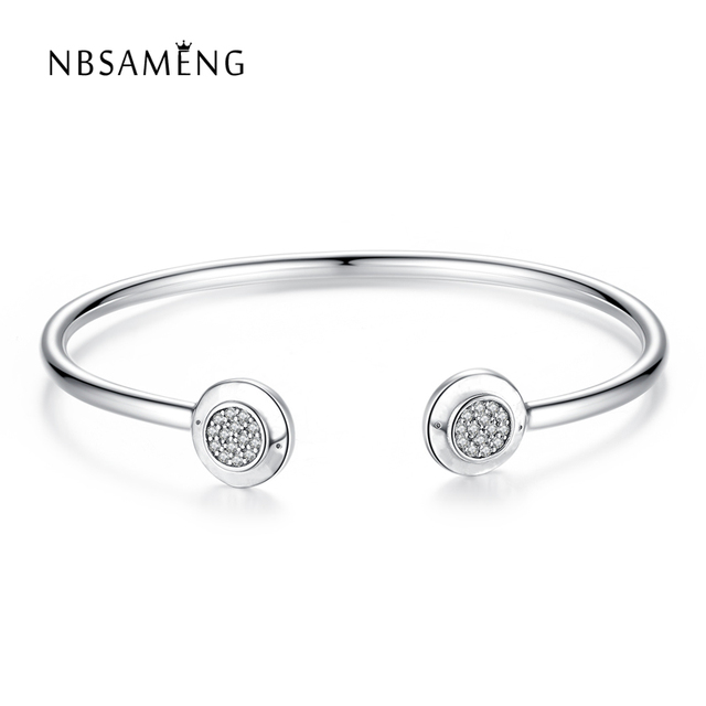 Authentic 925 Sterling Silver Opening Bangles Clear Crystal Basic Bracelet Bangle With Logo Fit Pan Women Bead Charm DIY Jewelry