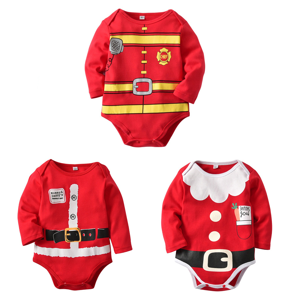 Christmas Cosplay Newborn Baby Fireman Twins Sleepsuit Cosplay Baby Romper Christmas Santa Claus Costume Baby Outfits Baby Body