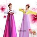 Высокое качество шелковый женщины ханбок с длинными рукавами традиционный корейский национальный костюмы корейский древний Cothes ханбок платье 17