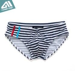 Новая летняя мужская одежда для плавания, спортивные мужские плавки, плавки с низкой посадкой, мужской купальник в полоску, мужской купальн... 5