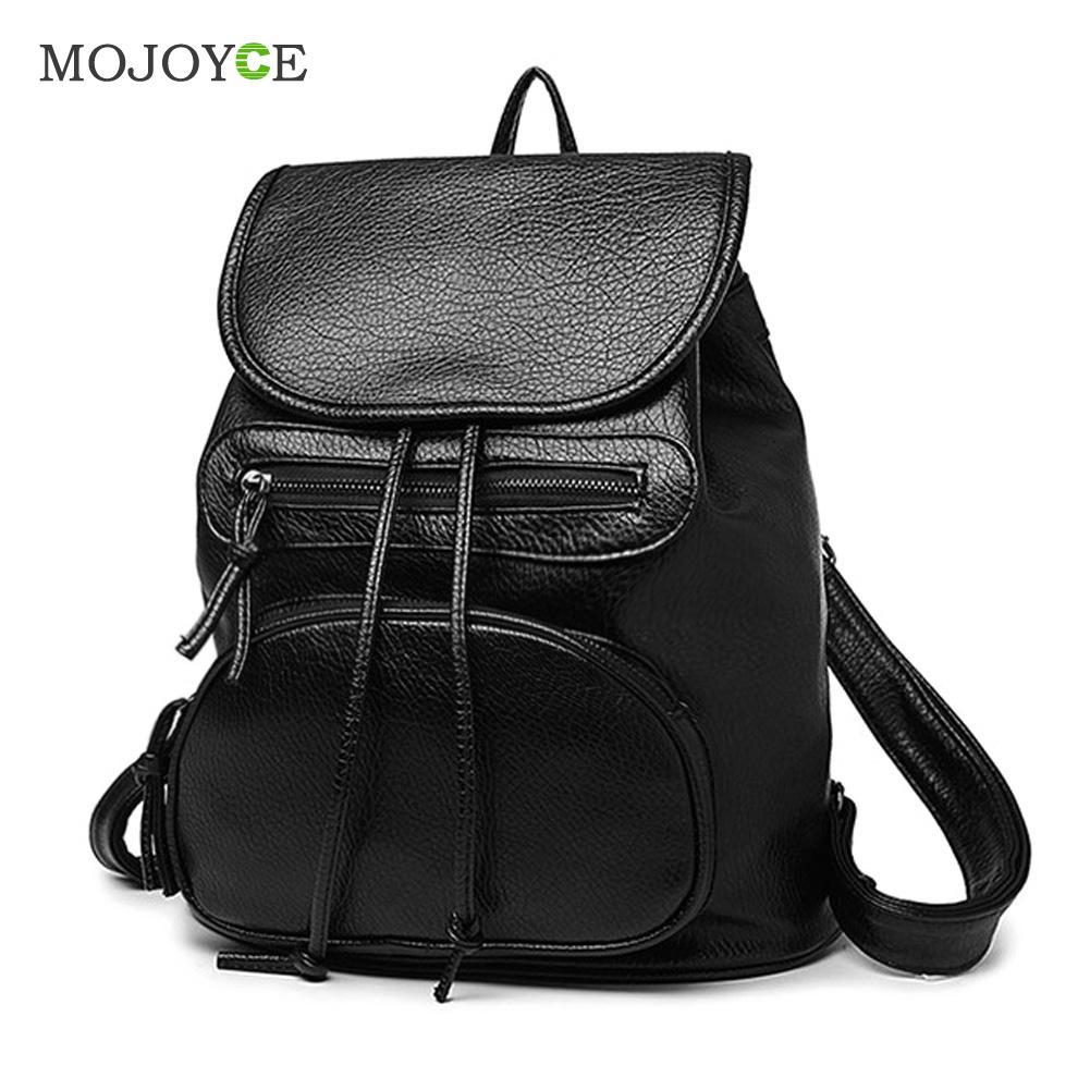 Leisure PU Leather Backpack Multi-Function Classic Backpack Women Schoolbag Black Mochila Feminina School Bags for Teenagers women s classic backpack