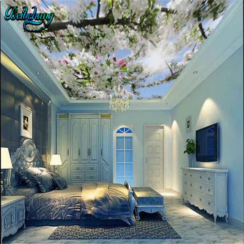 Beibehang Blue Sky White Clouds Pigeons Green Leaves Peach Flowers Ceiling Roof Fresco Custom Wallpaper Mural Decoration