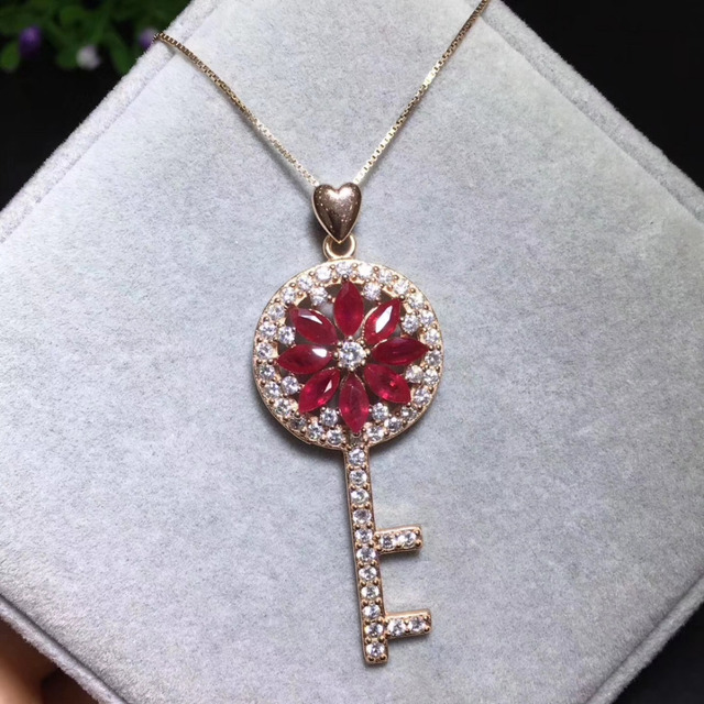 Natural red ruby gem pendant s925 silver natural gemstone trendy natural red ruby gem pendant s925 silver natural gemstone trendy lovely key pendant necklace women party aloadofball Gallery