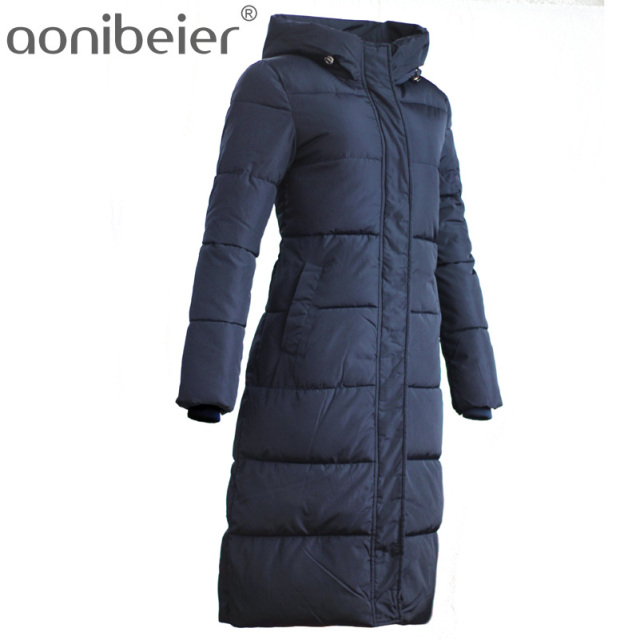 Aonibeier Women's Winter Cotton Padded Jackets Slim Coat Stars Pattern Printed Parka Warm Long Jackets Hooded Overcoat Parkas