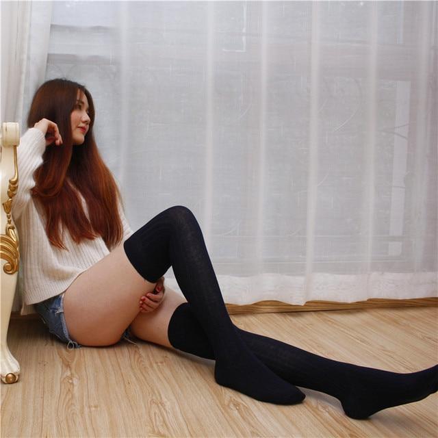Japanese School Uniform Students Cotton Middle Long Barrel Stocking Girls Stockings