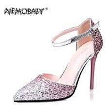 Frau Sommer Fashion Point Toe Komfortable Glitter Schnalle Elegante Glänzende Sandalen Sexy Hohen Dünnen Fersen Frauen Schuhe Frau Sandalen