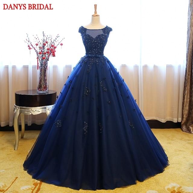e63ec92a3 Azul Puffy vestidos de quinceañera balón vestido 2018 Tulle dulce 16  princesa flor vestidos de baile