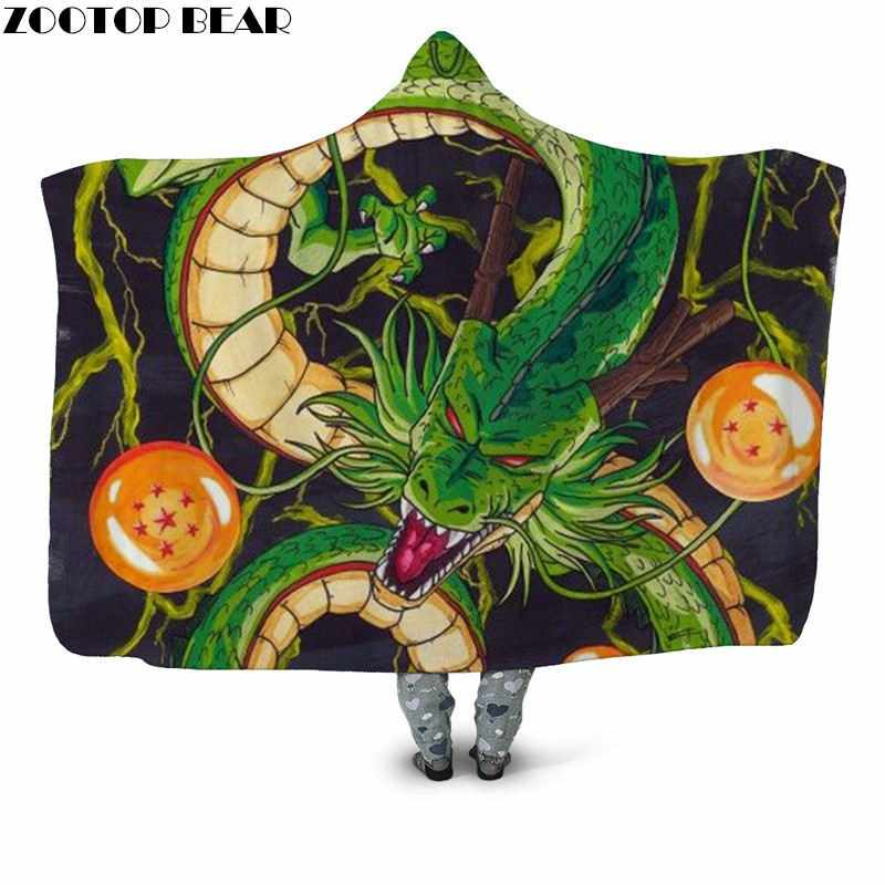 2019 Popular Animal Wearable Sherpa Blanket Bedspread Travel Casual Office Dragon Ball Anime Print Fashion Hooded Blanket