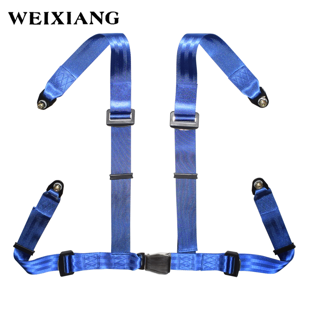 Universal 4PT 4 Point Sport Racing Style Seat Belt Harness Car Seat Safety Harness With Steel Buckle Black Red Blue stylish crown universal stainless steel seat belt buckle latches pair