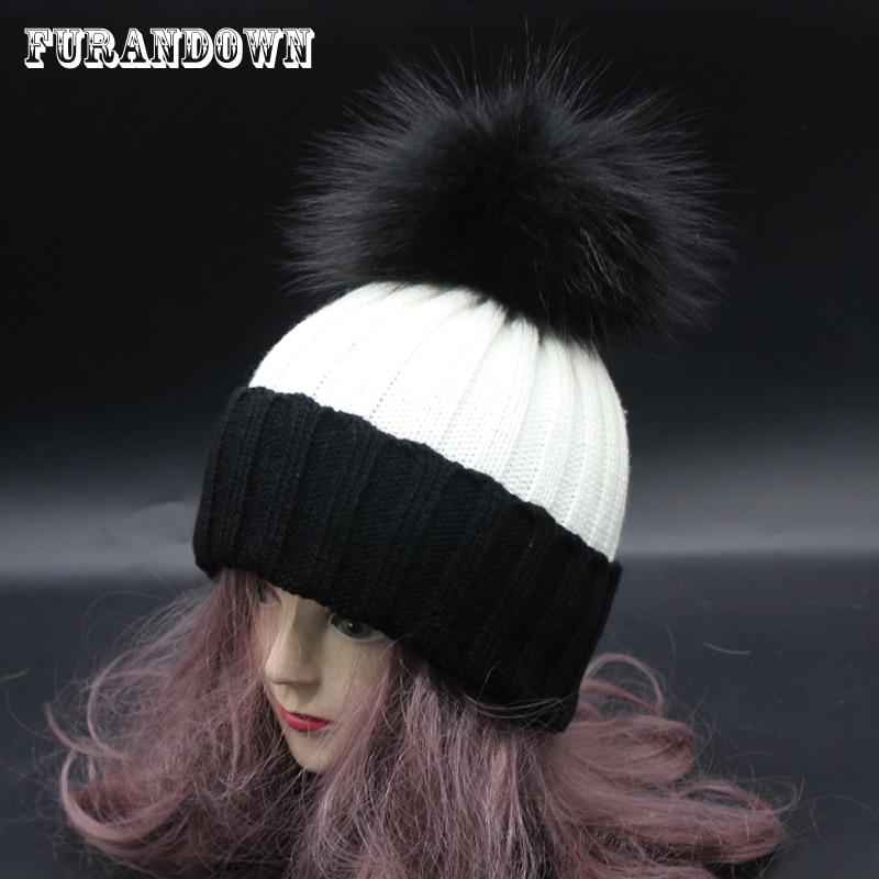 2018 női téli szőrme pompom sapka a nők színes pompon bobble kalap női patchwork kötés pipacs sapka