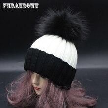 2018 Ladies Winter Fur Pompom Hats For Women Colour Pompon Bobble Hat Female Patchwork Knitting Beanie Caps
