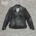 Black genuine leather jackets women sheepskin motorcycle jacket veste cuir veritable pour femme chaquetas de cuero mujer LT036