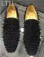 LTTL Fashion Handmade Mens Studs Spike Shoes Black Sliver Gold Glitter Loafers Shoes Runway Shining Rivets