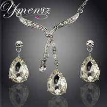 YMENGZ Brand Wedding Set Fashion Water Drop Design Clear Austrian Crystal Silver Plated Necklace Earrings Jewelry Set For Women