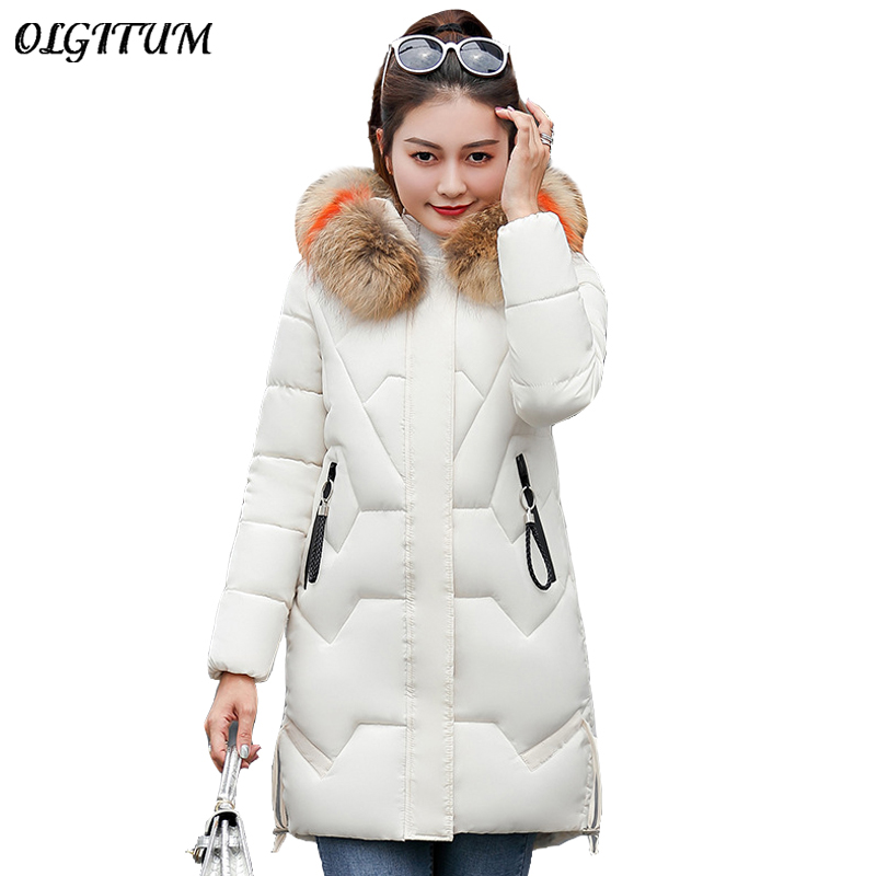 New 2019 Winter   Parkas   Women Fashion Slim Outwear Artificial Big Fur Collar Hooded Down Cotton Jacket Thicken Warm Winter Coat