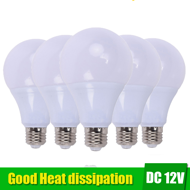 5pcs E27 LED Bulb Lights 3W 5W DC 12V Led Lamp 9W 12W 15W Energy Saving Lampada 12 Volts Led Light Bulbs For Outdoor Lighting