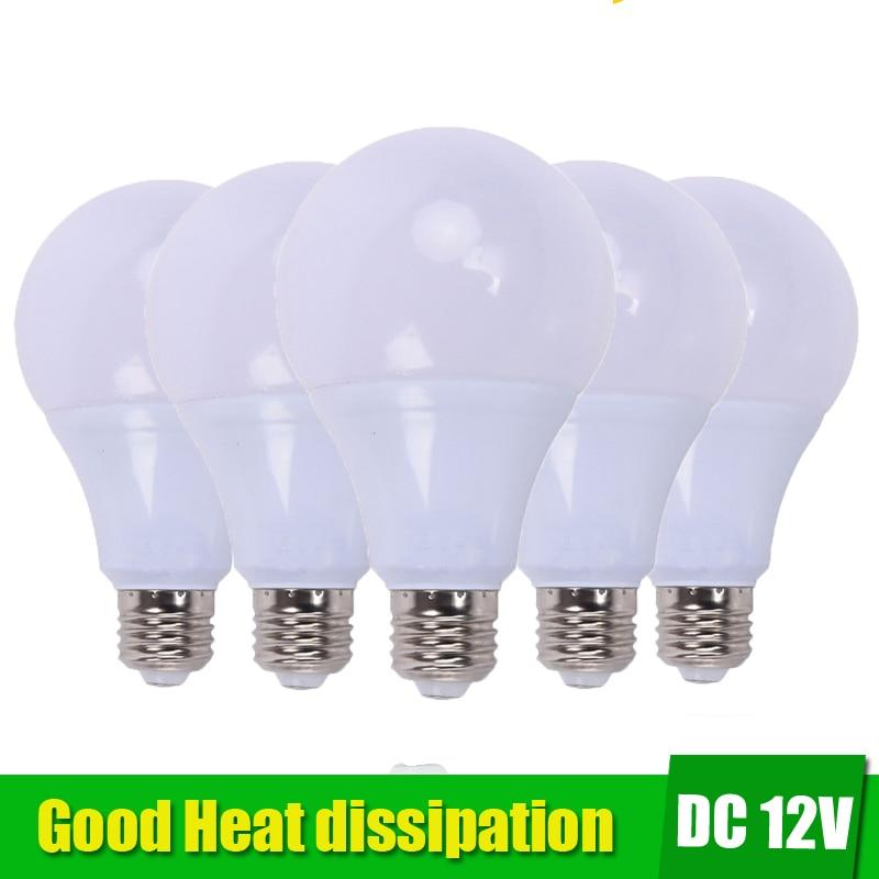5pcs E27 LED Bulb Lights 3W 5W DC 12V Led Lamp 9W 12W 15W Energy Saving Lampada 12 Volts Led Light Bulbs for Outdoor Lighting