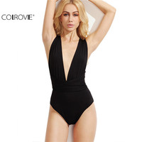 COLROVE 2016 Plunge Neck Backless Sheath Tops Ladies Black Deep V Neck Multiway Cross Wrap Sleeveless