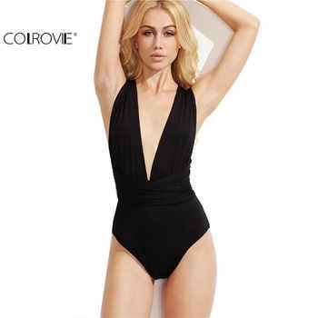 COLROVIE Plunge Neck Backless Sheath Bodysuit Ladies  Black Deep V Neck Multiway Cross Wrap Sleeveless New Bodysuit - DISCOUNT ITEM  40% OFF All Category