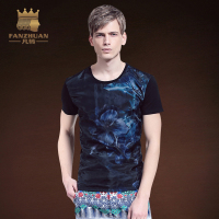 FANZHUAN Featured Brands Clothing New Fashion Short Sleeve Men print t shirt O neck Euclidean yarn T shirt tops men clothes Tee