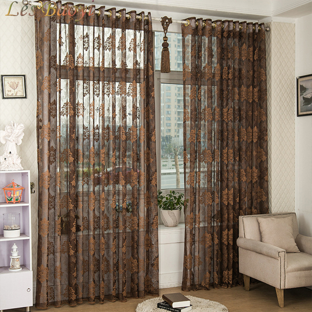Les Baoyi Luxury French Window Door Balcony Flocked Curtain Voile ...