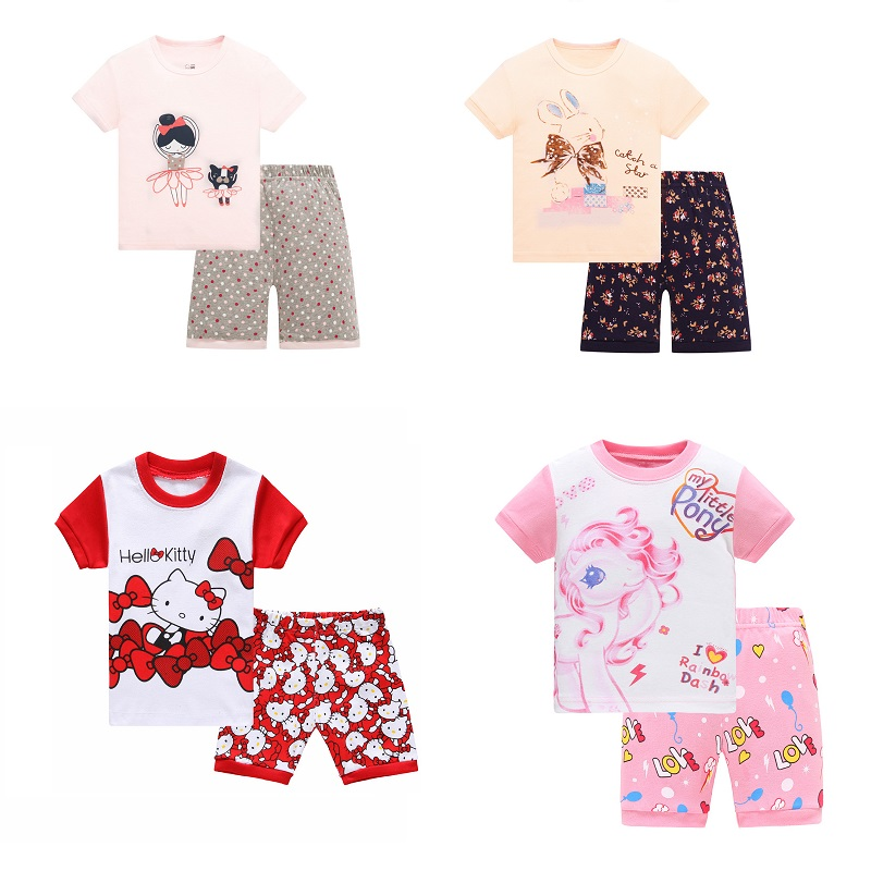 2018 Christmas Children Cotton Clothing Suit Baby Girls K Pyjamas T-shirt Stripe Pants 2pcs Kids Pajamas Set