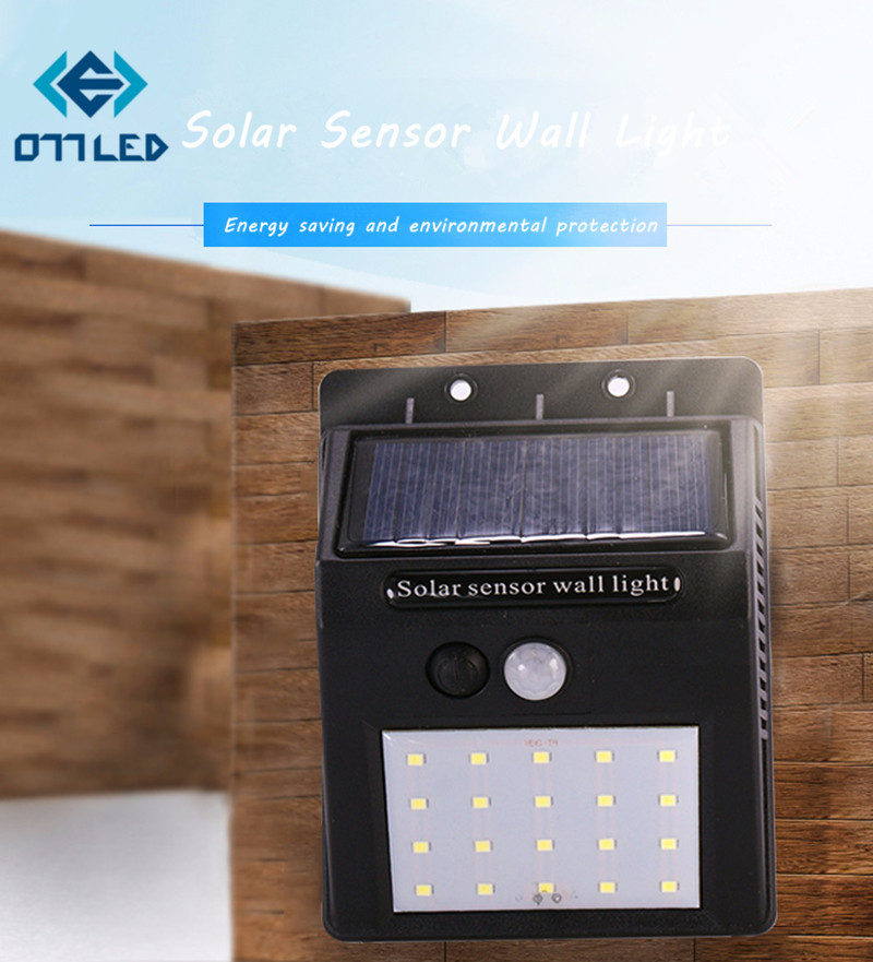 20LEDs Solar Light PIR Motion Sensor Solar Wall Lamp Waterproof Outdoor Garden Street Se ...
