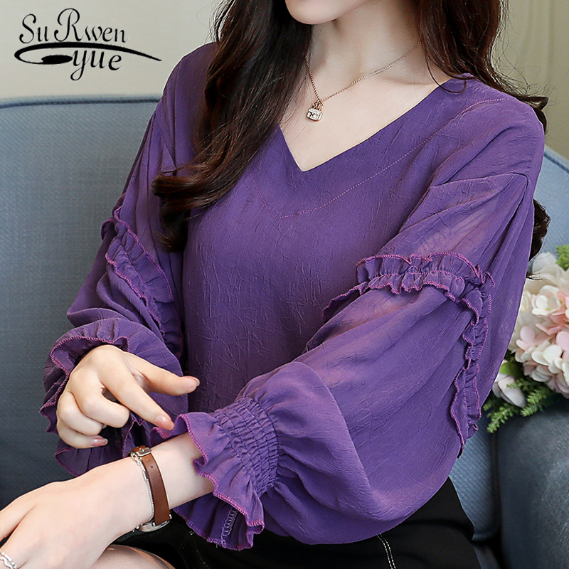 Fashion elegant   blouse   women spring V collar purple women   blouse     shirt   3XL plus size women tops Long Sleeve women   shirts   2447 50