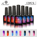 Saviland 12pcs Temperature Change Nail UV Gel Polish 10ml Mood Color Gel Soak off Thermo Nails Varnish Lacquer