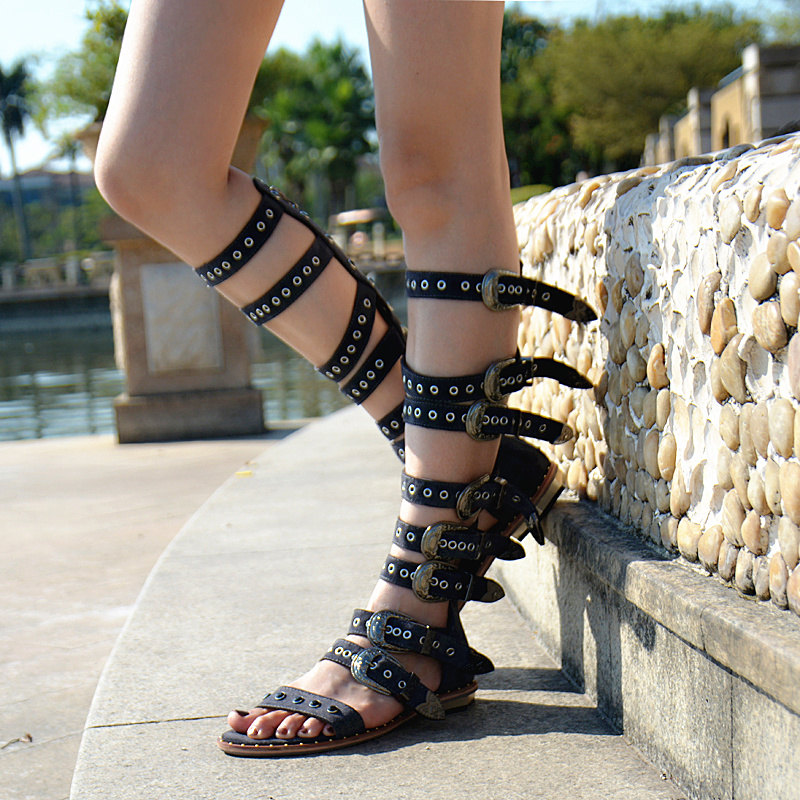 Top Selling Beach Vocation Summer Dress Shoes Women Buckle Detail Flat Sandal Boots Vint ...