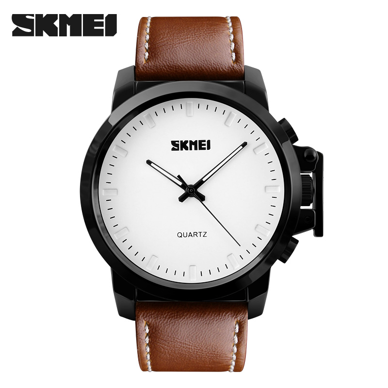 2019 New Brand <font><b>SKMEI</b></font> Men Fashion Quartz Watch Casual Business Watches Leather Waterproof Dress Wristwatches <font><b>1208</b></font> image