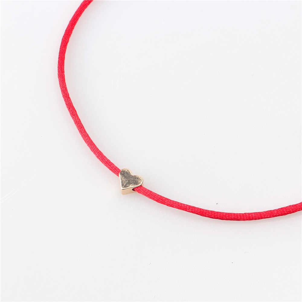 Romântico Coração Cor de Ouro Simples Linha Corda Pulseira Para Mulheres Homens Handmade Red Rope Tópico Jóias Friendshiop