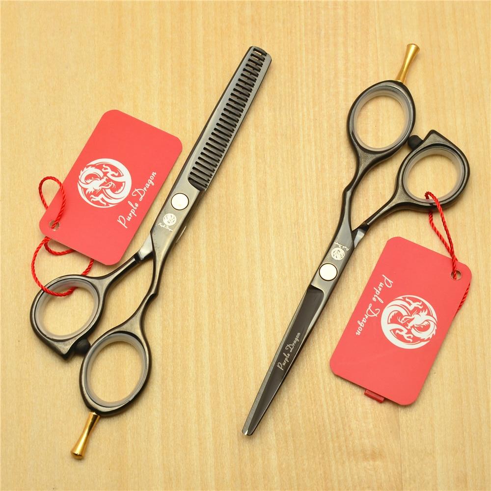 5.5 16cm Purple Dragon 440C Black Colour Professional Human Hair Scissors Hairdressing Cutting Shears Thinning Scissors Z1014