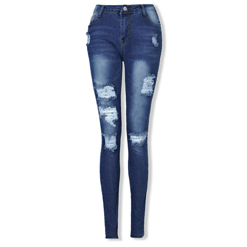 Women Casual Trousers Destroyed Hole Ripped Distressed Slim  Pants  Jeans