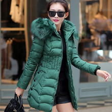 Winter Jacket Women Parka Slim Warm Fur Hooded Jacket Female Elegant Jacket Coat Casual Vestidos