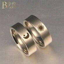 BOAKO Stainless Steel Rings For Women/Men Titanium Steel Couple Rings Wedding Moon Star Promise Ring Girl Valentine Gift K5 цена