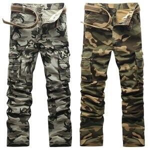 Image 4 - 2020 outono nova camuflagem calças de carga dos homens alta qualidade moda casual em linha reta algodão marca tático masculino