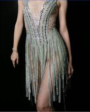 Fashion Silver Rhinestones Fringes Dress Women Birthday Celebrate Bodysuit Costume Tassel Performance Evening Wear