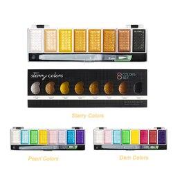 Premium 5/8 cores metálico ouro pigmento pintura conjunto sólido água cor com waterbrush para pintura aquarelas arte suprimentos