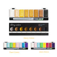 Premium 5/8Colors Metallic Gold Pigment Paint Set Solid Water color With Waterbrush For Painting Watercolors Art Supplies