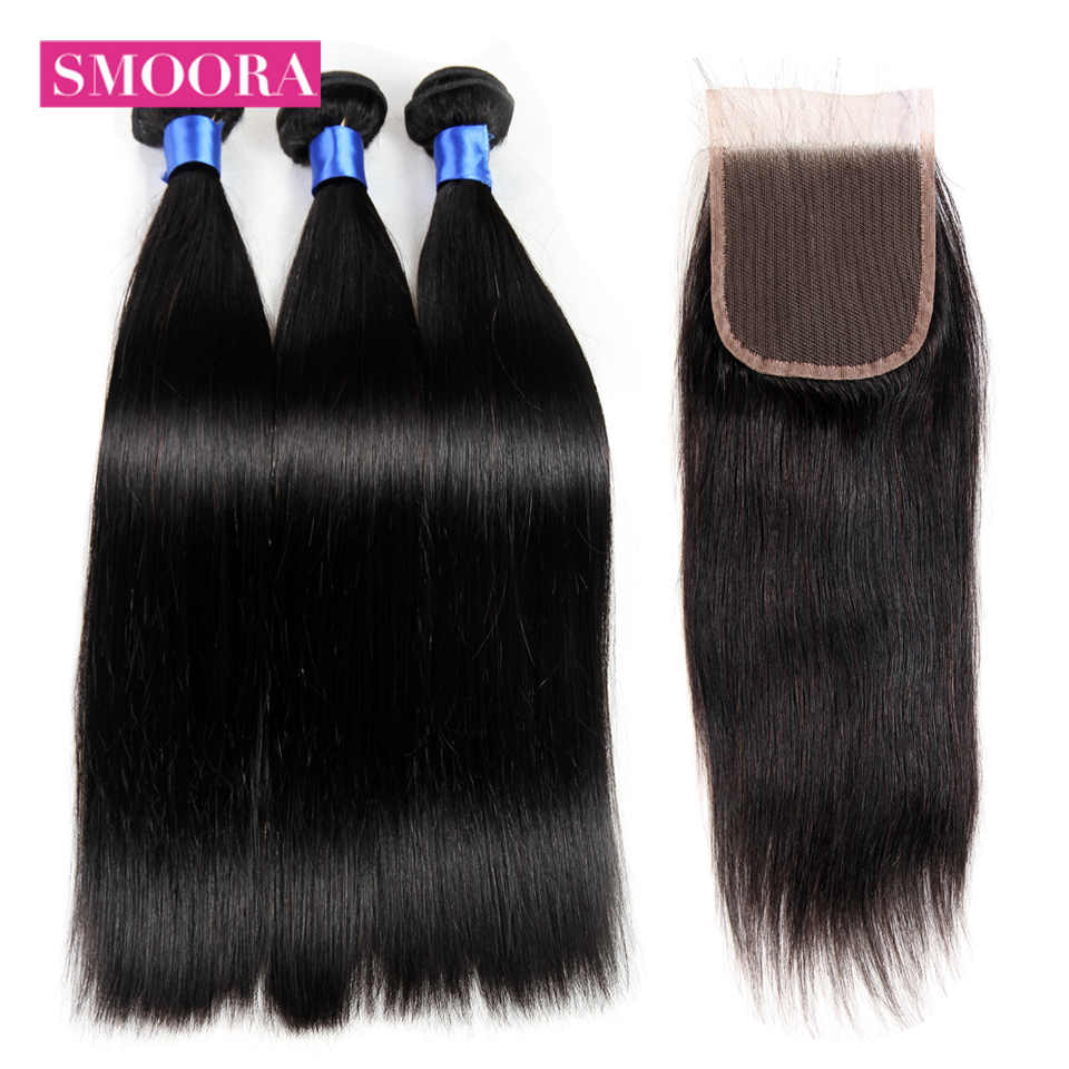 Smoora Hair Indian Straight Hair Bundles 3 Bundles With Closure Human Hair Bundles With Closure 4x4 Top Lace Closure Non Remy